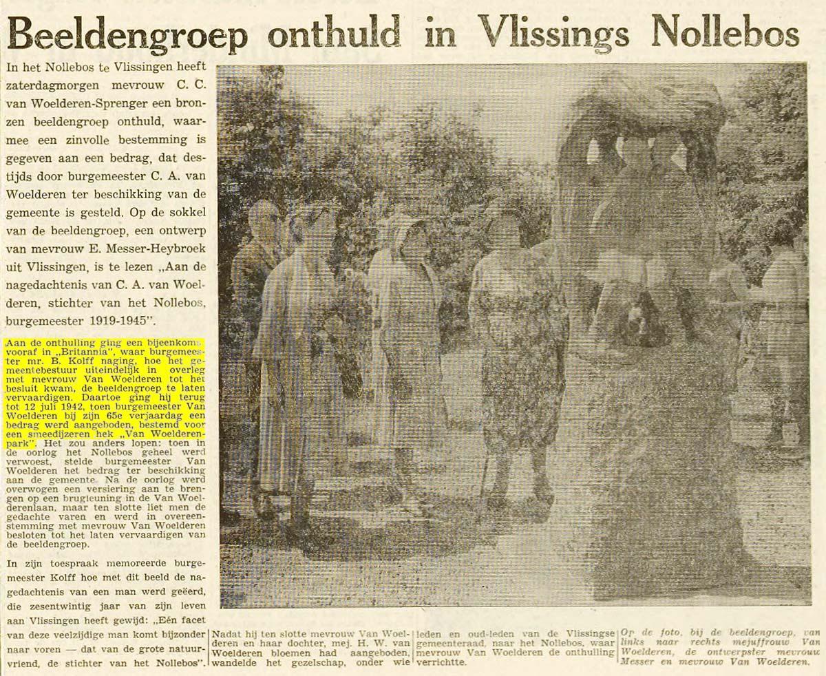 Nollebos Westduinpark Vlissingen bewijs krantenartikel